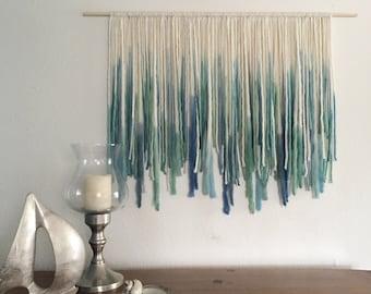 Ocean-inspired Bohemian Yarn Wall Hanging, Macreme Wall Hanging, Dip Dyed Tapestry, Blue and Green, ocean wall art, ombre fiber art