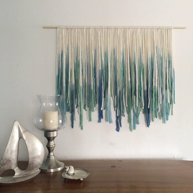Yarn Wall Art ocean-inspired bohemian yarn wall hanging macreme wall