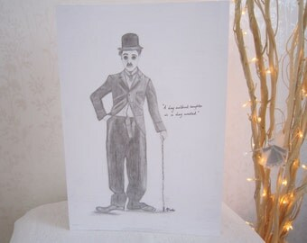 Charlie Chaplin pencil sketch with quote