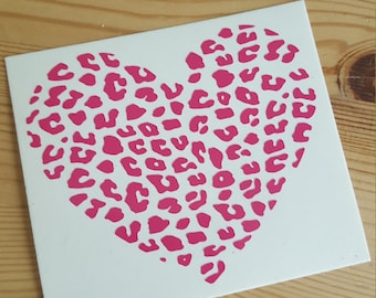 Leopard Heart Decal, Cheetah Decal, Cheetah Print Decal, Leopard Decal, Leopard Print Decal, Leopard Spots, Cheetah Spots