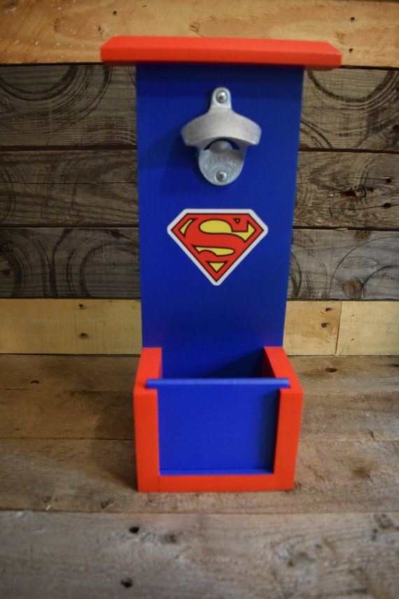 items similar to superman bottle opener with cap catch on etsy. Black Bedroom Furniture Sets. Home Design Ideas