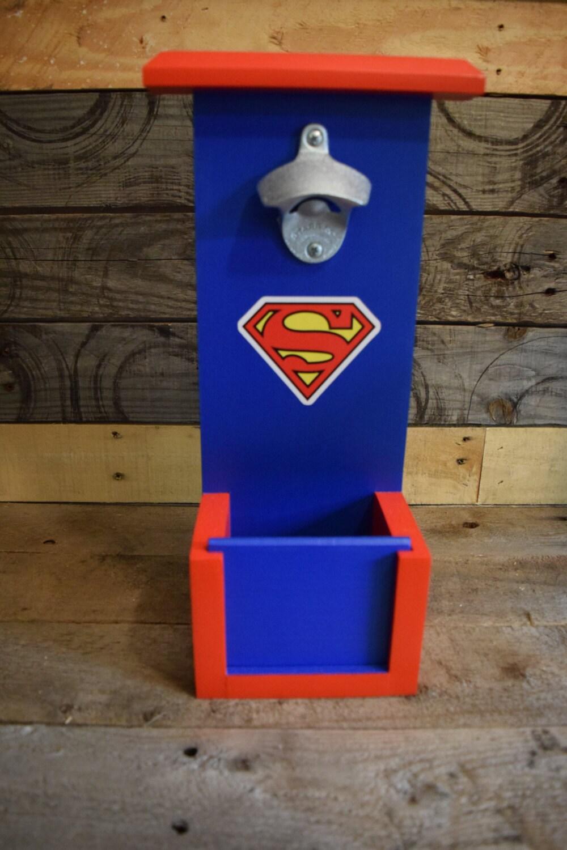 superman bottle opener with cap catch. Black Bedroom Furniture Sets. Home Design Ideas