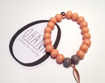 Feather Bracelet in Peach, rose gold and grey