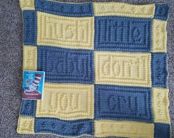 Hush little baby crocheted baby blanket. made to order