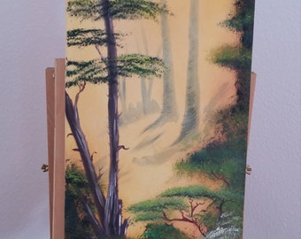 Meditative forest original oil painting 30 x 70