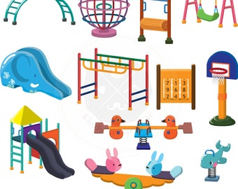 Kid Playground Set Clipart,playground clipart,kid toy clipart,digital download