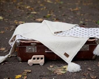 Creambubbles + GIFT/ Wool baby blanket /Newborn blanket /Knit baby blanket / Baby wrap /Summer baby blanket / Two side blanket/ Newborn gift