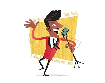 Little Richard, 50s Rock & Roll, Instant Digital download, Printable Illustration, pioneer of rock and roll, Rockabilly, Retro illustration