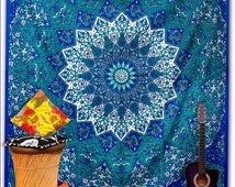 Indian mandala tapestry, queen-size tapestry sheet, hippie sheet, wall tapestry, boho decor, dorm decor, bohemian bed sheet