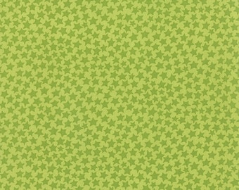 BTHY-Midnight Masquerade by Deb Strain for Moda, Pattern# 19728-17 Dark Green Stars on a Light Green Background, by the HALF YARD