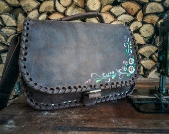 Woven Leather Handbag / Hand Painted Braided Leather Bag / Leather Shoulder Bag / Brown Leather Satchel / Braided Leather Purse