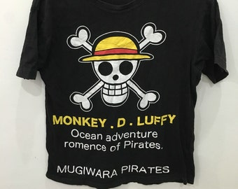 Vintage 90's One Piece Monkey D. Luffy Ocean Adventure Romence Of Pirates Cartoon Design Shirt Size S #B45