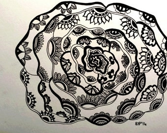 zentangle flower, black and white flower, pen and ink flower, abstract flower, unique gift idea, original pen and ink drawing, zendoodle