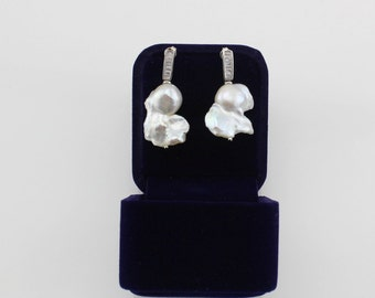 Rare Cultured Freshwater Pearl Earrings with Solid Sterling silver and CZ Gemstone