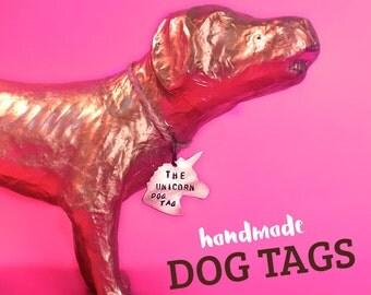 Unicorn Dog ID Tag. Copper or Brass