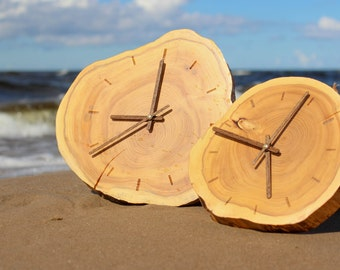 Unique wall clock, wall clock, wood clock, handmade clock, rustic wall clock, wooden clock, unusual wall clock, wooden slice clock, clock