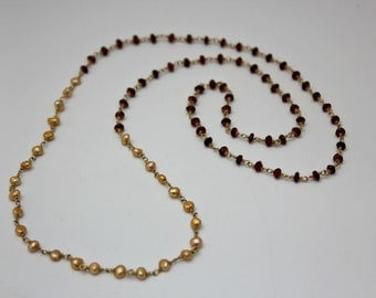 Pearl and Garnet 14k Gold Filled Chain Necklace