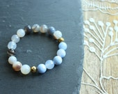 Blue and Nude Quartz Bead Stretch Bracelet with Gold Magnetic Bead Accents // Charity Bracelet // Infertility Awareness // Gifts for Her