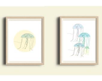Printable nautical set of 2 prints, beach decor, ocean wall art, under the sea, jellyfish illustration, digital prints set, bathroom art set