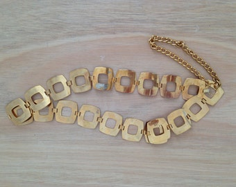 Sixties 60s Square Chain Gold Metal Belt