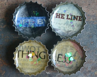 Word Magnets, Recycled Bottle Cap Fridge Magnets, One of a Kind Set,