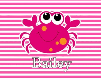 Little Crabby Pink Personalized Placemats