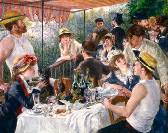 Renoir 1881, Luncheon of the Boating Party, HD Canvas Print or Art Print, Decor Artwork Wall Poster French Impressionism Pierre-Auguste
