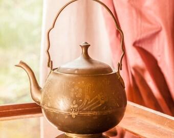 UNIQUE Vintage Pewter Teapot ANTIQUE, Rare Design, Collectible