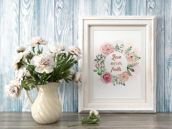 Love never fails, Typography Print, Motivational Quote, Inspirational Art, Inspirational Print, Wall Prints, Modern Wall Art, Art Printables