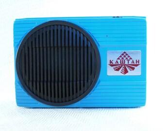 Blue and black wall mount radio Vintage plastic low voltage radio 80s Soviet little plug in radio Retro home decor Tech gift for him