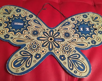 Giant Psychedelic Butterfly Wall Hanging Calendar Mod Vintage 1960's Pop Art