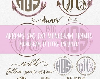 Arrow Circles Svg Arrow Monogram Svg Font Svg Files Svg Frames Svg Monogram svg files fonts monogram files for cricut files for silhouette