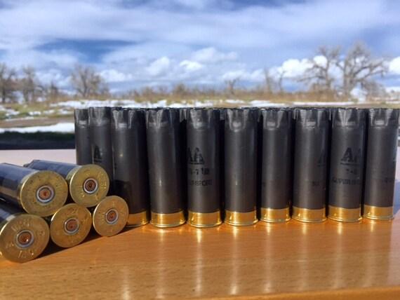 Empty Shotgun Shells 50 Lot Gun Metal Gray with Brass Base