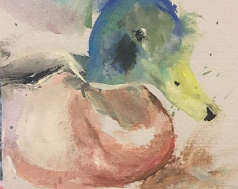 "Duck watercolour ""Quackers"""