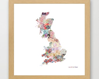 GREAT BRITAIN MAP print, Great Britain painting, map of Great Britain, Painting of Great Britain, Great Britain poster, Giclee Fine Art