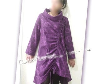 Slanting String  High Neck Oversized Floral A-line Tunic Cotton100% Boho Asian Peasant Purple