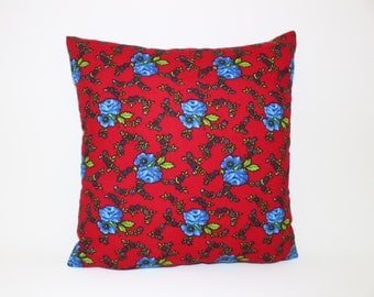 Traditional % 100 Cotton  Fustian  Pillow Cover, Red Cushion