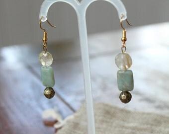 Quartz & River Stone Earrings, gold