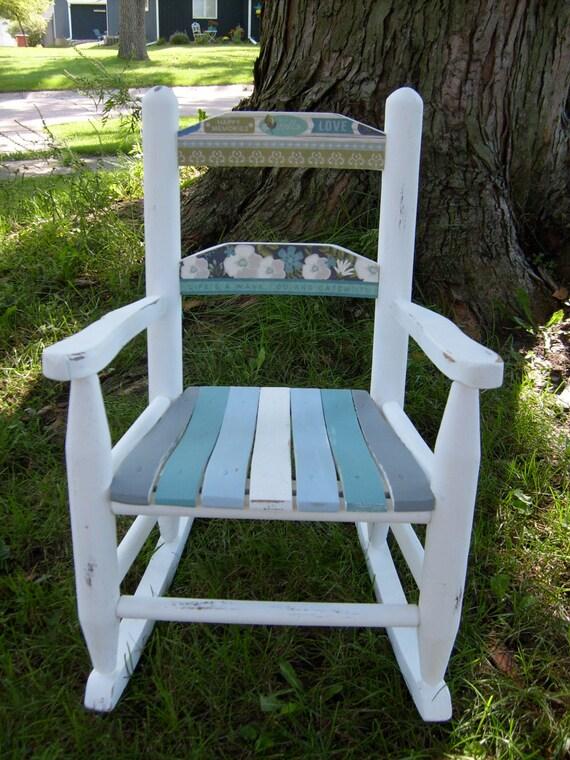 Shabby Chic Wood Rocking Chair, Rocking Chair, Beach Rocking Chair ...