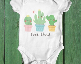 Free Hugs Cactus | Funny Baby Bodysuit | Baby Shower Gift | Hipster Baby Clothes | Funny Baby Bodysuit | Cute Baby Clothes | Boho Baby