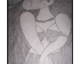 Picasso style Pencil art Orgasim