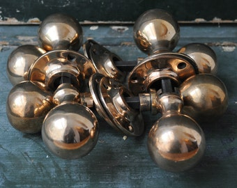 4 pairs of vintage rose brass door handles,