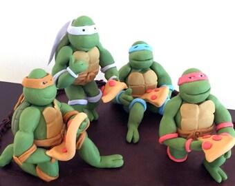 Set of 4 Ninja Tutrles cake topper