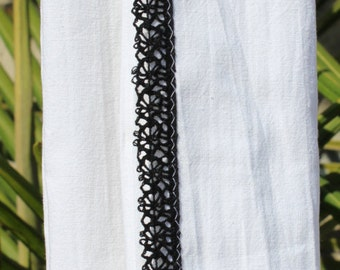Black Crochet Trimmed Cotton Flour Sack Towel