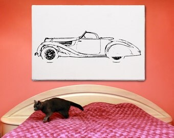 """Delahaye 135 MS Cabriolet: Minimalism painting, extra large wall art, black and white modern acrylic painting, wall art decor, 25""""x36""""+"""