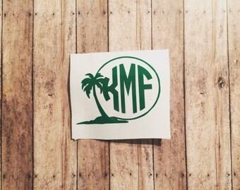 Palm Tree Monogram Decal - Palm Tree Monogram Sticker - Palm Tree -  monogram decal - palm tree decal - palm tree monogram -