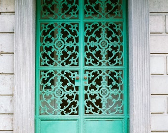 New Orleans French Quarter Door Green Wrought Iron