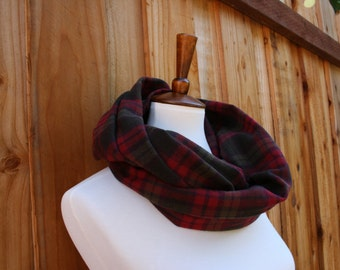 Plaid Infinity Fall Scarf- Berry Red Olive Ivory colors, Fall/ Winter wear, 100% Cotton