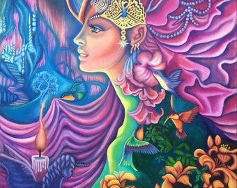 Beautiful Faerie Elf Nature Goddess Colourful Large Original Acrylic Painting on Gallery Wrapped CanvasArt by Breanna Deis