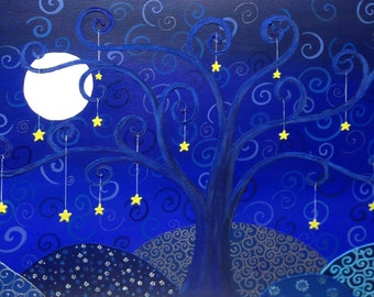 Picture on canvas. Painting acrylic. 70 x 40 night tree of life